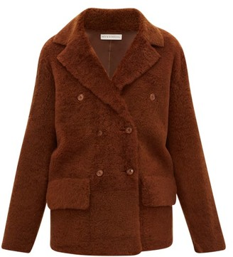 Inès & Marèchal Frou Frou Double-breasted Shearling Peacoat - Womens - Mid Brown
