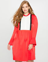 ELOQUII Plus Size Flared Sleeve Colorblock Dress
