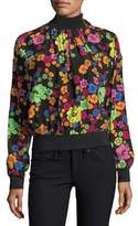 Moschino Flower-Print Turtleneck Blouse