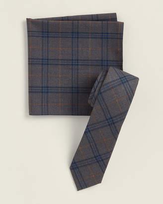 Original Penguin Two-Piece Devlin Plaid Grey Pattern Tie & Pocket Square Set