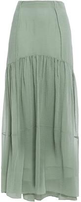 3.1 Phillip Lim Gathered Textured Cotton And Silk-blend Maxi Skirt