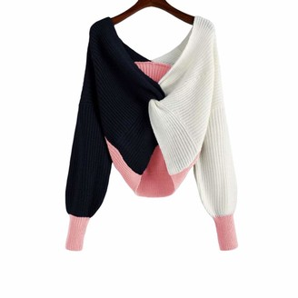 snaked cat Women Sexy Sweater Tops V Neck Criss Cross Backless Colorblock Sweaters Twisted Pullovers Crop Knitted Long Sleeve Casual Sweater Loose Jumper Shirt Tops (Pink S)