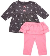 Bon Bebe Black Bow Dress & Pink Skirted Leggings - Infant