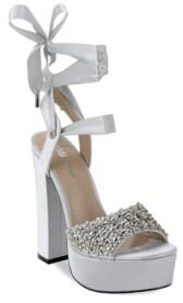 OLIVIA MILLER Garden City Multi Floral Chunky Heel Sandals Women's Shoes