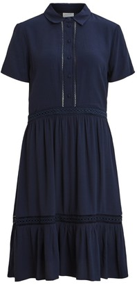 Vila Embroidered Mini Shirt Dress with Short-Sleeves