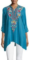 Johnny Was Sable Long-Sleeve Embroidered Tunic, True Blue