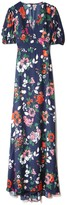 Lela Rose Printed Floral V-Neck Gown in Peony Multi
