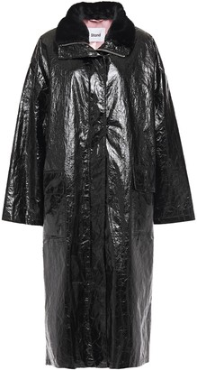 Stand Studio Maia Faux Fur-trimmed Coated Crinkled-canvas Coat