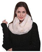 Adelaqueen Women's Fabulous Faux Fur Neck Warmer Infinity Scarf Ivory Mix Brown