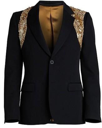 Alexander McQueen Sequin Harness Wool Blazer