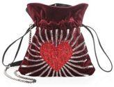 Les Petits Joueurs Trilly Heart Velvet Pouch Bag