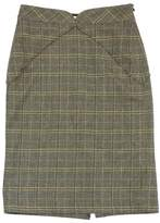 Milly Grey & Green Plaid Wool Pencil Skirt