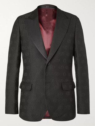 Gucci Faille-Trimmed Logo-Jacquard Wool And Silk-Blend Tuxedo Jacket