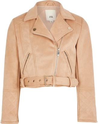 River Island Girls blush suedette belted biker jacket