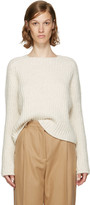 Carven Ecru Purl Stitch Crewneck Sweater