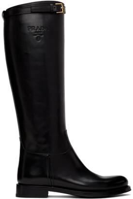Prada Black Strap Boots