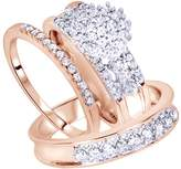 Jewel Zone US White Natural Diamond Engagement & Wedding Trio Bridal Ring Set In 10K Solid Gold (1 Ct)