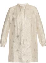 Saint Laurent Self-tie neck silk-blend jacquard dress