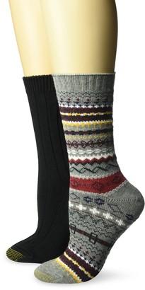 Gold Toe Women's Fairisle Ribbed Crew Socks 2 Pairs