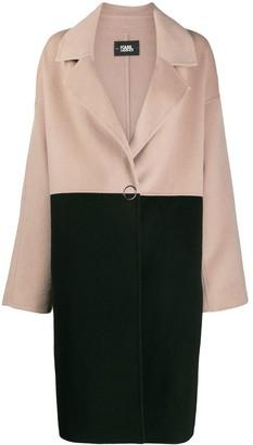 Karl Lagerfeld Paris Branded Colour Block Coat