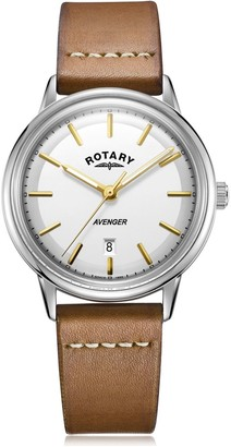 Gents Rotary Watches White Avenger Quartz Watch With A Brown Leather Strap
