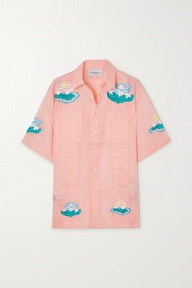 Casablanca Embroidered Pintucked Cotton-voile Shirt - Pastel orange
