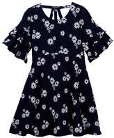 My Michelle mymichelle Daisy Print Ruffle Sleeve Dress (Big Girls)