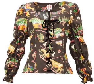 Shrimps Jerico Rodeo-print Silk-satin Blouse - Womens - Black Multi