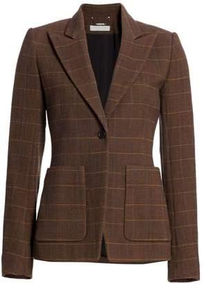 Chloé Plaid Stretch-Wool Blazer