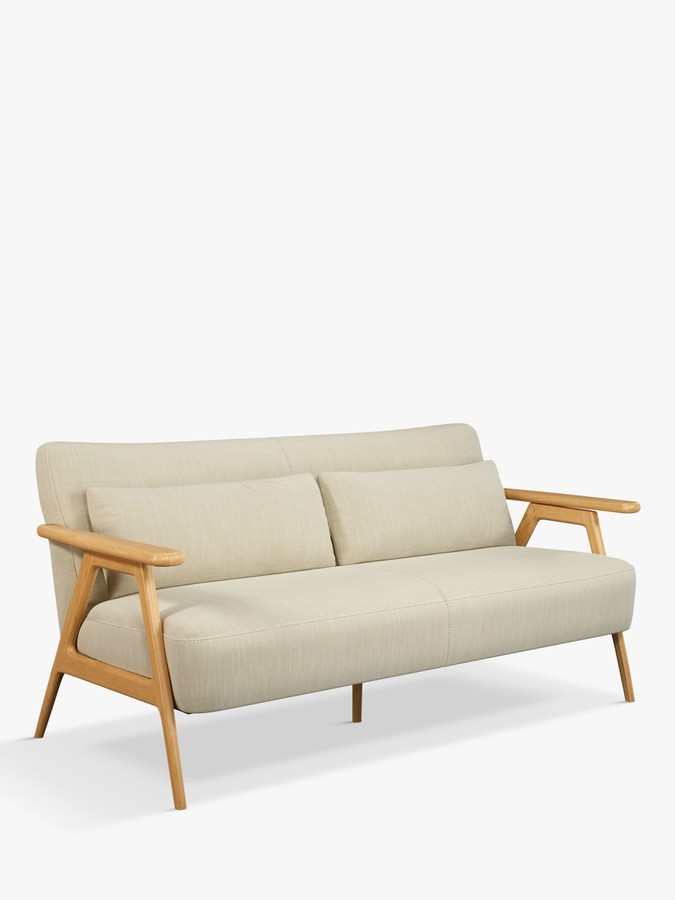 John Lewis & Partners Hendricks Medium 2 Seater Sofa, Light Wood Frame, Elsie Natural