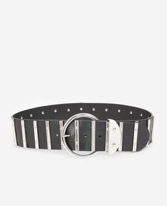 The Kooples Black skinny leather belt with silver details