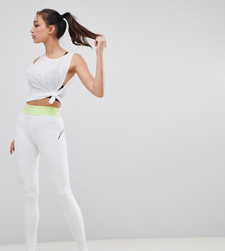 Asos 4505 4505 Tall training legging with bonded waistband and laser cut technology-White