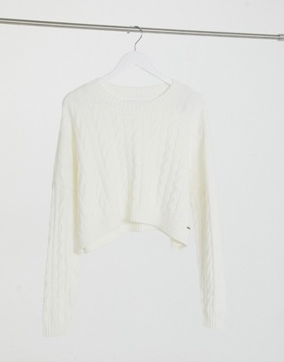 Hollister mock neck cable jumper in white
