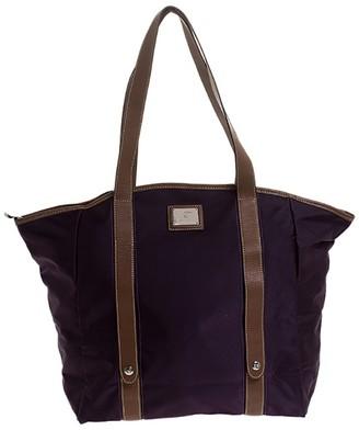 Lancel Purple Nylon and Leather Shopper Tote
