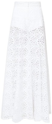 Carolina Herrera Broderie-anglaise Cotton Palazzo Trousers - Womens - White