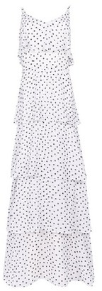 Dorothy Perkins Womens Dp Tall White Spot Print Tiered Frill Maxi Dress, White