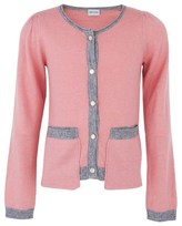 Mini A Ture Pink Cashmere Cardigan with Grey Trim