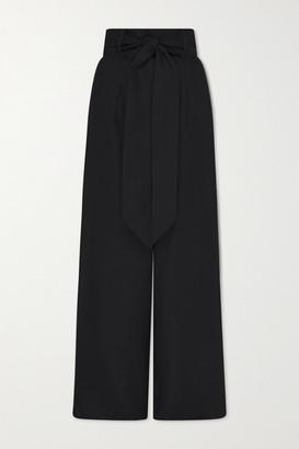 BONDI BORN Net Sustain Belted Linen-twill Wide-leg Pants