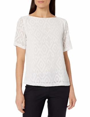 Kasper Women's Short Sleeve Dashed Texture Blouse