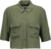 Equipment Cropped washed-silk shirt