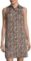 Three Dots Sleeveless Leopard-Print Shirtdress, Neutral Pattern
