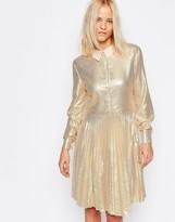 Liquorish Metallic Shirt Dress with Pleated Skirt