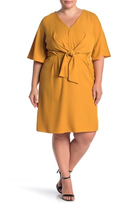City Chic V-Neck Knot Front Dress (Plus Size)