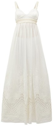 Esperanza Love Binetti Satin-bodice Cotton Maxi Dress - Womens - Ivory