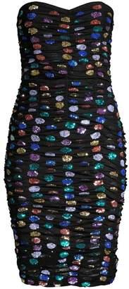 retrofete Rachel Strapless Rainbow Crystal Embellished Bodycon Dress