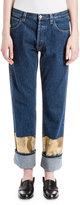 Loewe Cuffed Metallic-Trim Jeans, Denim