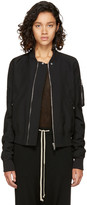 Rick Owens Black Cropped Flight Bomber Jacket