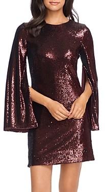 Dress the Population Liza Cape-Sleeve Sequin Dress