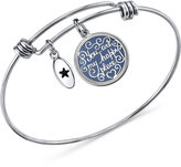 "Unwritten Happy Place"" Message Disc Bangle Bracelet in Stainless Steel and Silver-Plate"