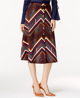 NY Collection Printed Ponte A-Line Skirt